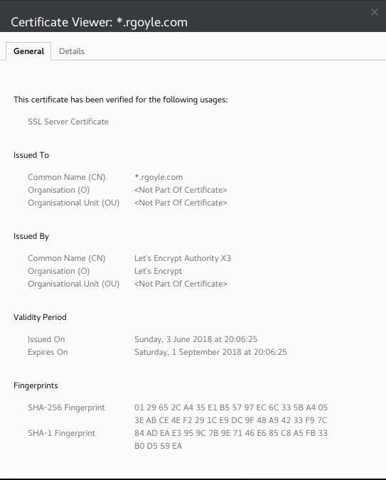 Screenshot of Chrome's certificate viewer showing the wildcard cert